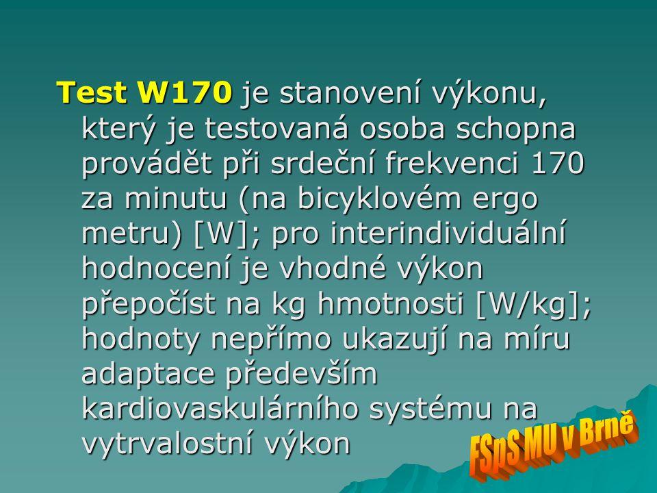 Test W170 je stanovení výkonu, který je testovaná osoba schopna provádět při srdeční frekvenci 170 za minutu (na bicyklovém ergo metru) [W]; pro interindividuální hodnocení je vhodné výkon přepočíst na kg hmotnosti [W/kg]; hodnoty nepřímo ukazují na míru adaptace především kardiovaskulárního systému na vytrvalostní výkon